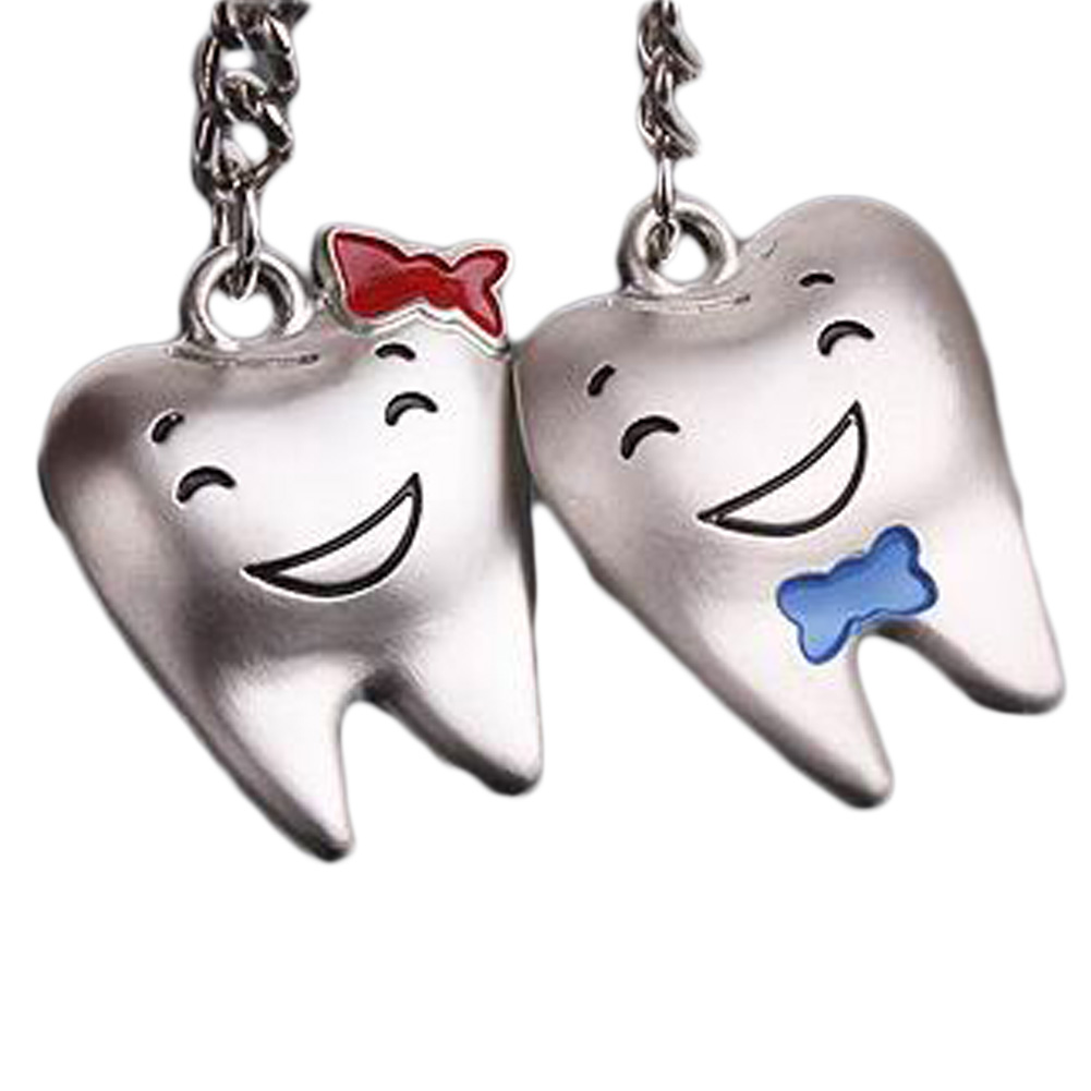 1 Pair New Arrival For Lover Tooth Shape Couple Keychain Metal Trinket Zinc Alloy Wedding Souvenirs can dropshiping