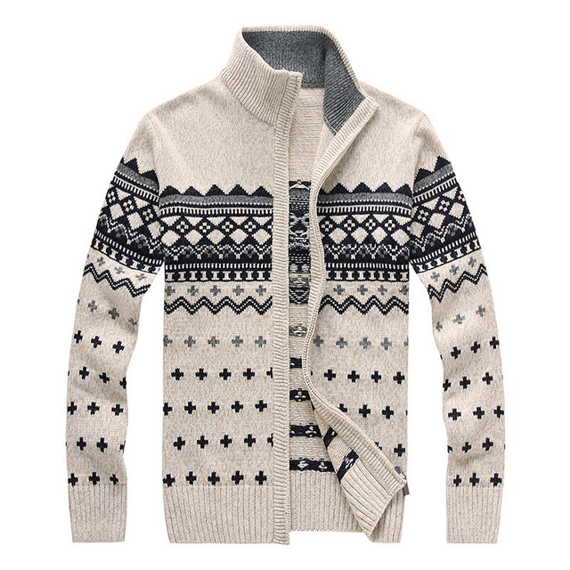 be3febcd46b Brand Mens Sweaters With Full Zipper Fashion Casual Collar Stylish Men  Sweaters Cardigan Slim Thick Coat Woolen Sweaters Homme
