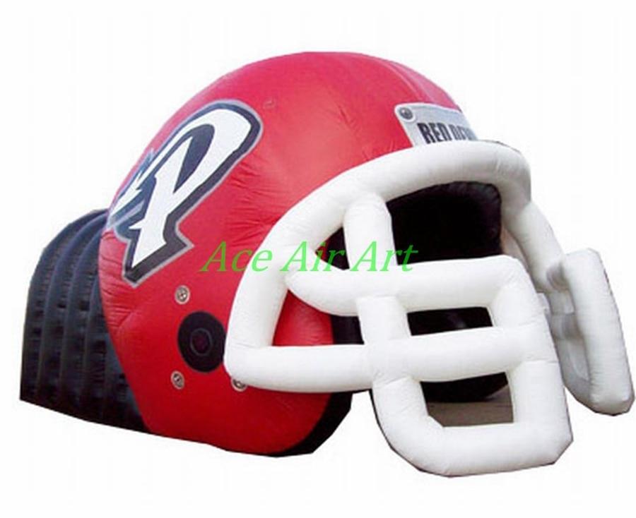 Portable inflatable football helmet tunnel with helmet, inflatable Football Helmet Shape for sale