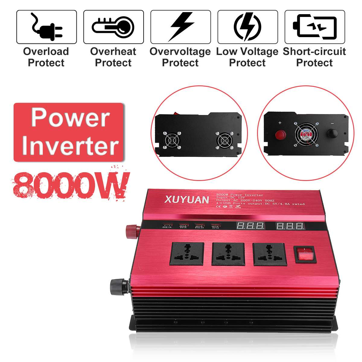 KROAK Solar Power Car Inverter 12V 220V 8000W LED Power DC 12V To AC 220V Sine Wave Converter For Car And Truck