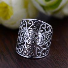 Подлинная стерлингового серебра 925 полый Винтажные Цветы Кольцо для женщин широкий Дизайн Анель feminino alibaba-express