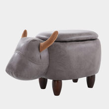 Multi-Functional Upholstered Ride-On Animal Ottoman Footrest Stool With Storage Animal-Like Features Creative for Kids and Adult(China)