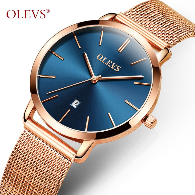 OLEVS Dress Quartz Wristwatches For Women Mesh Steel Strap Calendar Waterproof Ultra Thin Dial Ladies Automatic Watch  5868&L69 weiqin w3224 shell dial ultra thin ceramic women quartz watch