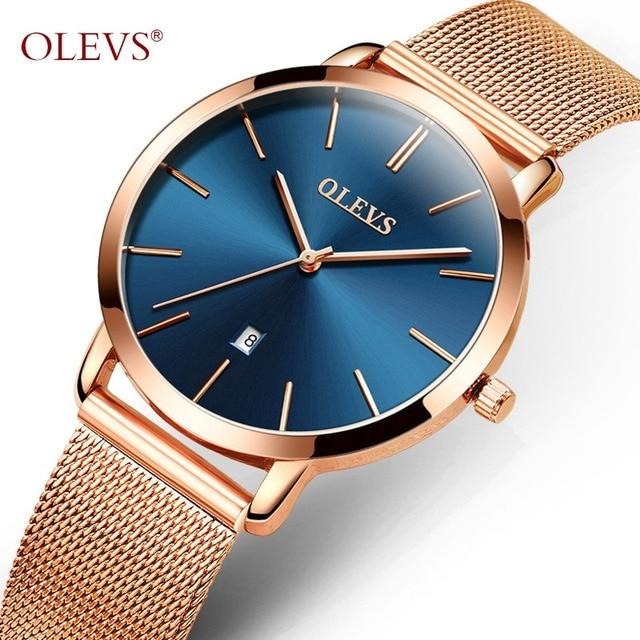 OLEVS Dress Quartz Wristwatches For Women Mesh Steel Strap Calendar Waterproof U