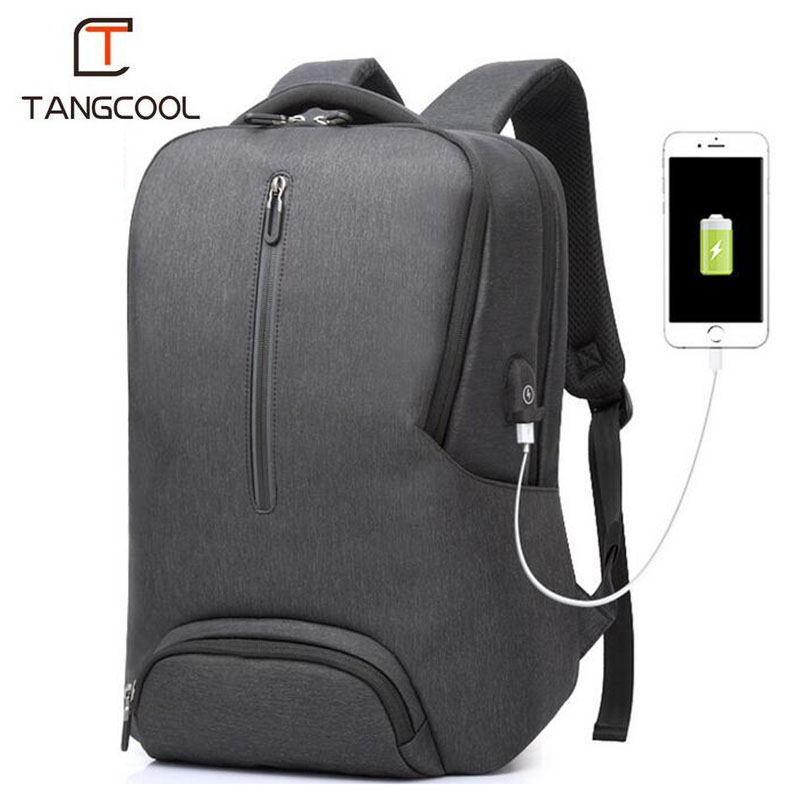 Tangcool Big Backpack Men New USB Charging School Bag For Teenagers Travel Backpack 2018 Anti-theft 15.6 Inch Designer Backpacks mooncase чехол for sony xperia c5 флип кожаный бумажник чехол карточка с kickstand дело чехол черный коричневый