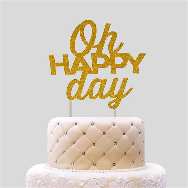 10pcs oh happy day birthday cake topper topo de bolo wedding cake stand birthday party. Black Bedroom Furniture Sets. Home Design Ideas