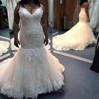 Gergous Mermaid Spaghetti Strap Wedding Dresses Sweep Train Lace Appliques African Bridal Gowns