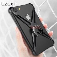 Lzcxi противоударный металлический бампер чехол для Apple iPhone 7 7 плюс ультратонкий держатель кольца алюминиевый защитный чехол для телефона рамка