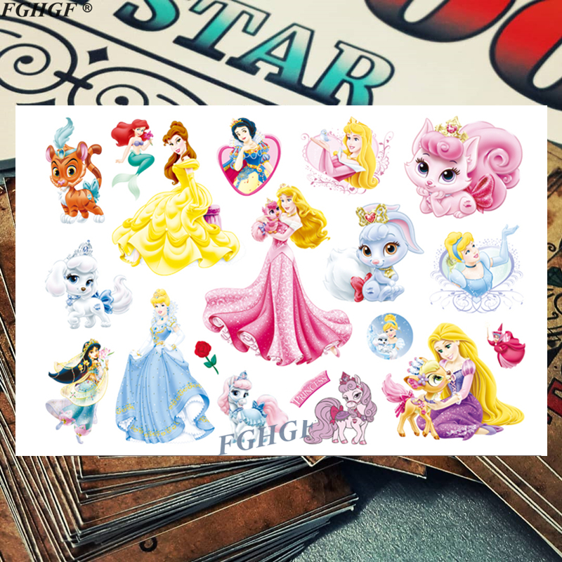 Cartoon Cute Princess And Pet Child Temporary Body Art Flash Tattoo Sticker 17*10cm Waterproof Painless Tattoo Free Shipping