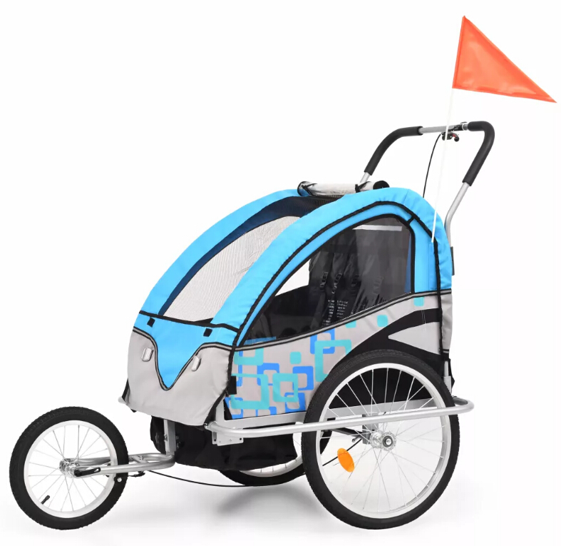 (Ship From Oversea Warehouse) 2-In-1 Kids' Bicycle Trailer Stroller Foldable Baby Three Wheels Stroller For 1 Or 2 Children