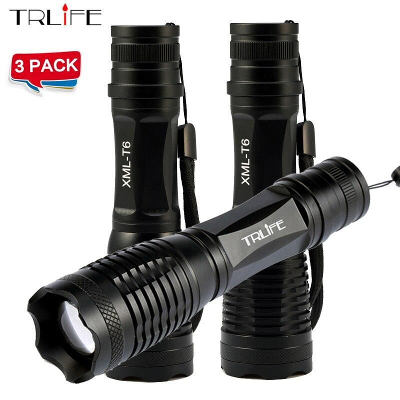 1/2/3 stücke CREE XML T6/L2 6000LM cree led Taschenlampe Zoombare CREE LED Taschenlampe licht Für 3 xAAA oder 1x18650 Batterie