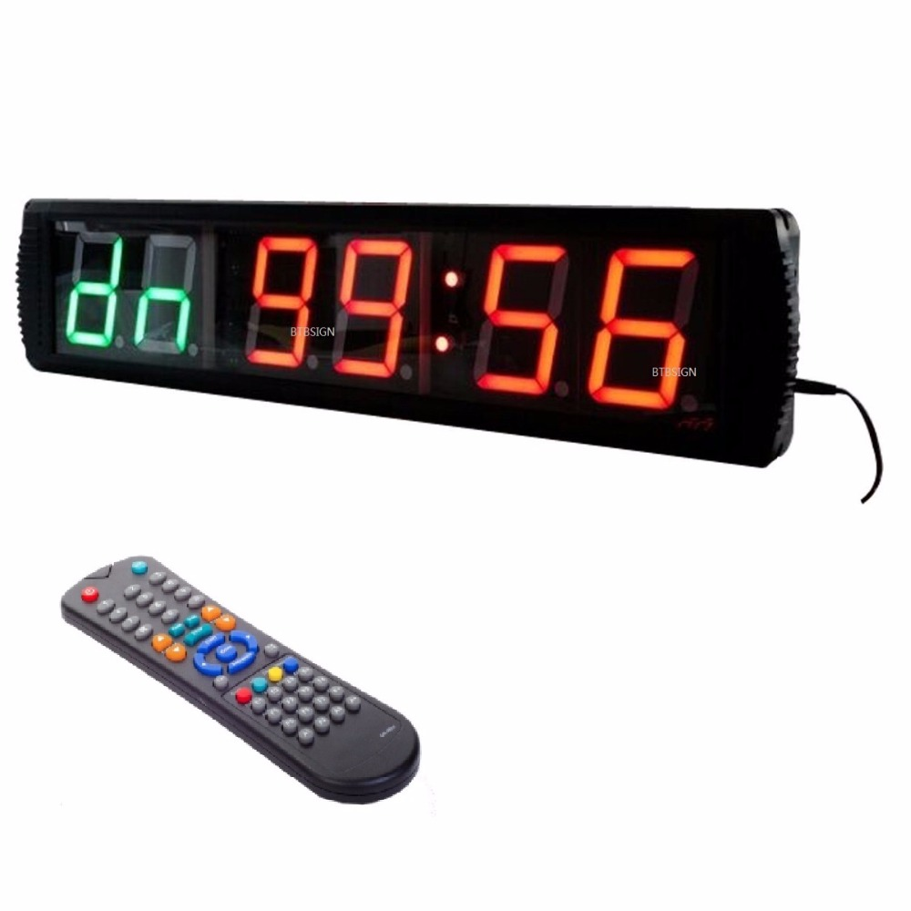 Digit green oversized wall clock programmable