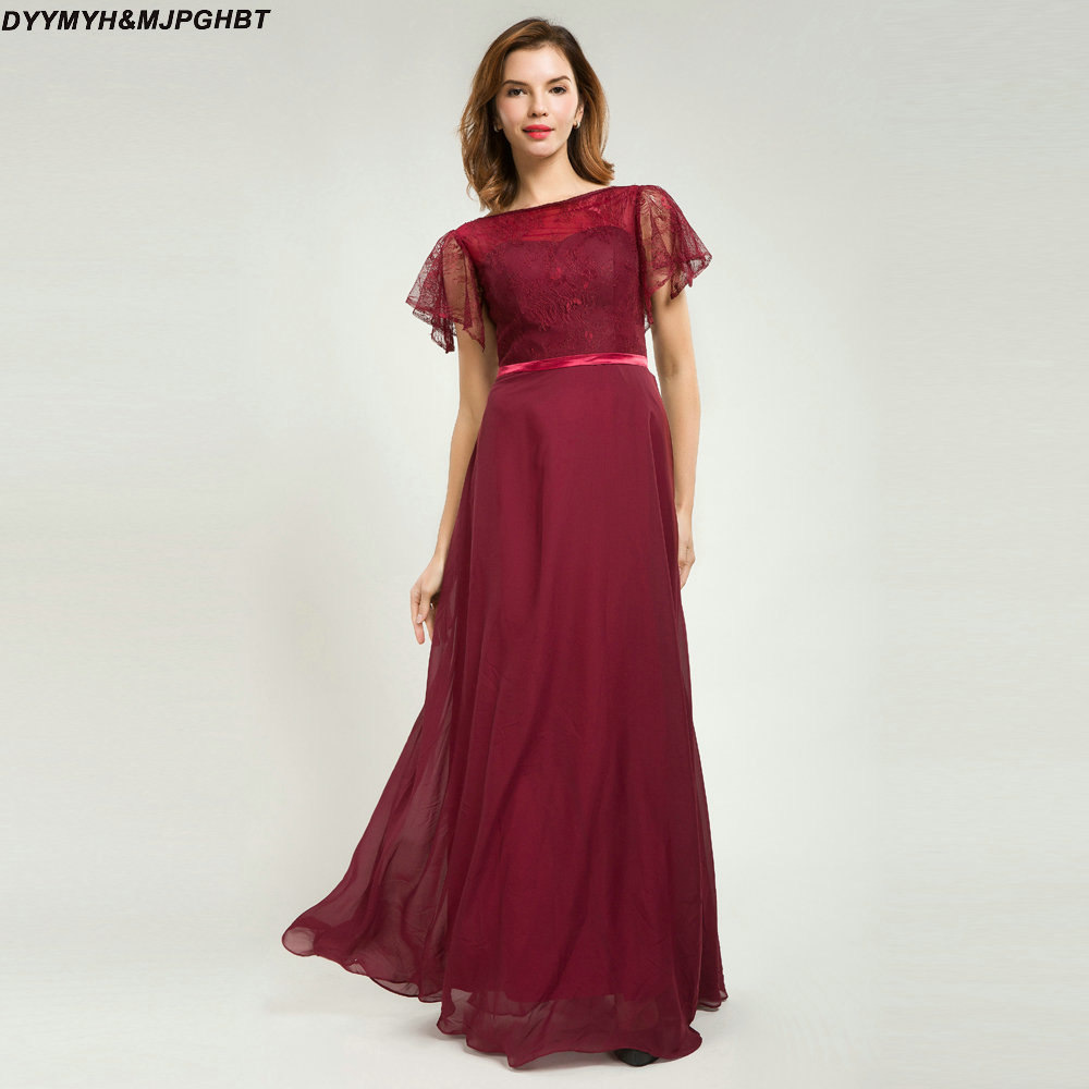 Burgundy Chiffon Bridesmaid Dresses Short Lace Sleeve Scoop Neck Keyohole Back Maid Of Honor Gowns In From Weddings Events On