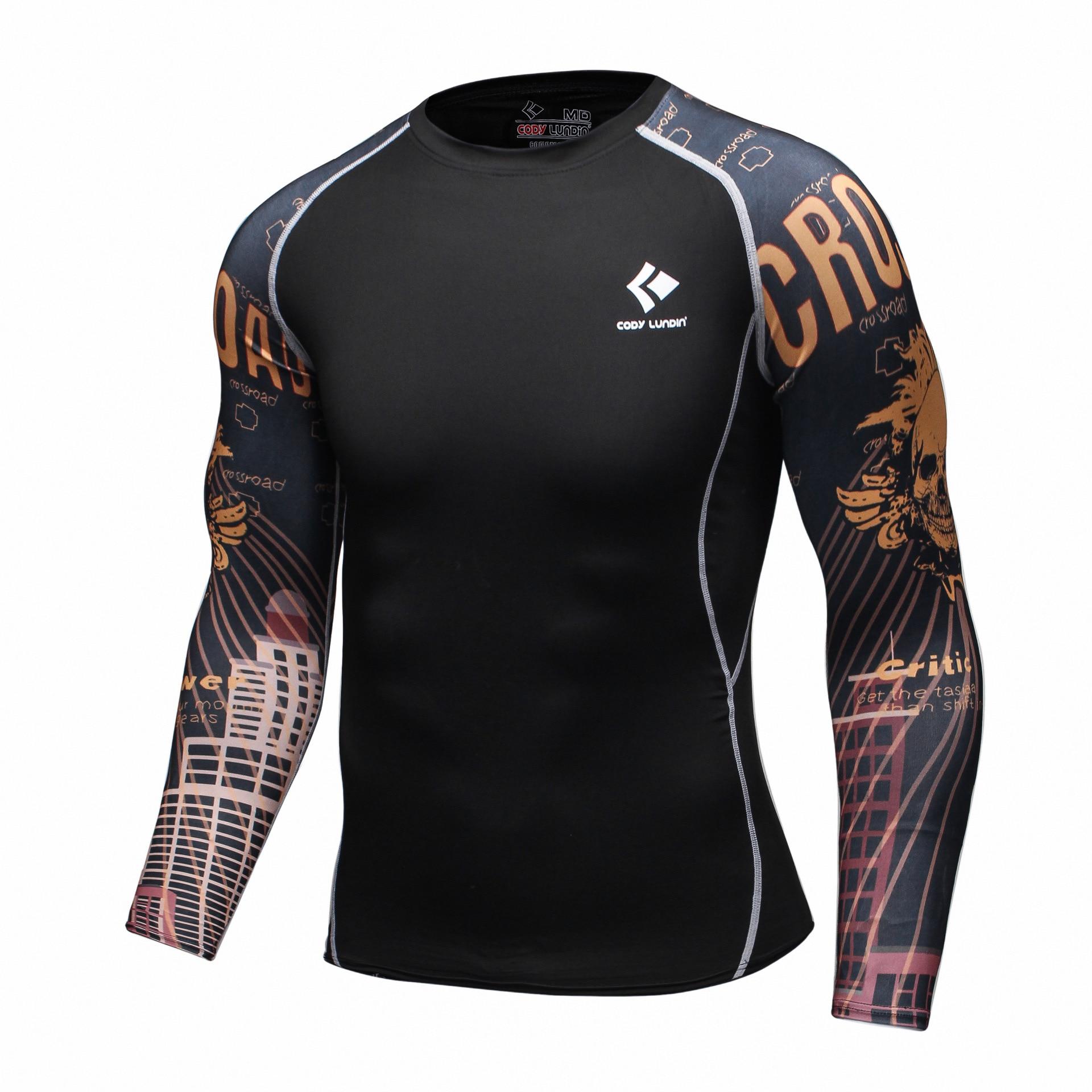 Férfi ökölvívó pulóverek Fitness lélegző izom Muay thai futó boksz kompressziós ruhák tornaterem MMA edzés hosszú ujjú póló