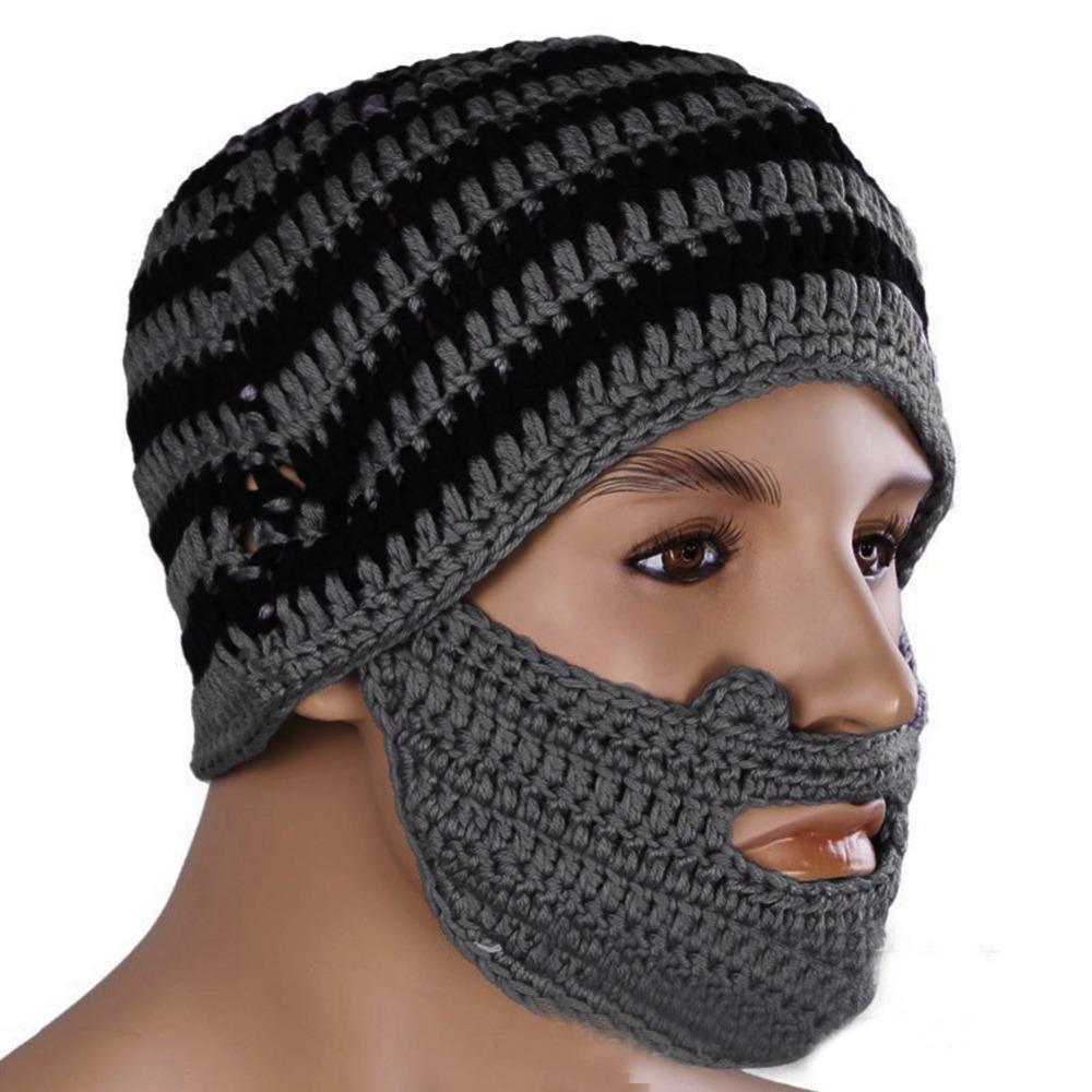 Winter Knitted Mens Crochet Beard Hat Bicycle Mask Ski Cap Roman