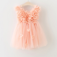 c0df52e9c06fc5 Summer New Baby Girl Dress Flower Petals Decorative Mesh Princess Dress  Sweet V Neck Halter Dress
