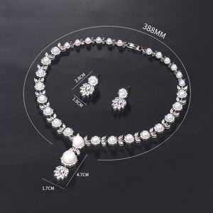 Image 3 - WEIMANJINGDIAN Simulated Shell Pearl and Cubic Zirconia CZ Crystal Necklace & Earring Jewelry Set for Wedding Bridal Jewelry