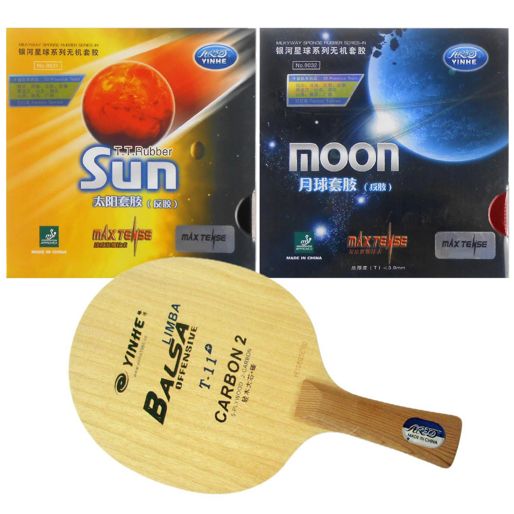 Original Pro Table Tennis PingPong Combo Racket Galaxy Yinhe T-11+ with Sun and Moon Factory Tuned Long shakehand FL