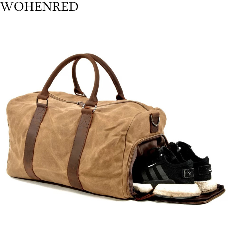 Men Travel Duffel Bag Canvas Leather Waterproof Weekend Bag Overnight Large Capacity Carry on Shoulder Bags Male Tote Luggage