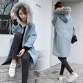 2016 новый основной корейский стиль осень зима пальто женщин элегантный искусственного меха воротник карманы пальто свободные завышение длинные кокон пальто