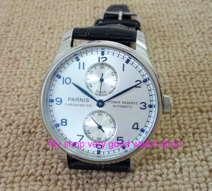 43MM PARNIS Automatic Self-Wind  movement  Silvery- white dial power reserve men's watch Mechanical watches 112 43mm parnis st2530 automatic self wind movement white dial power reserve men s watch mechanical watches gq8