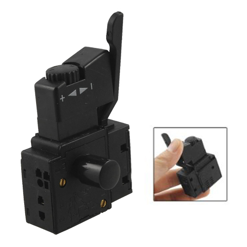 HWEXPRESS FA2-4/1BEK SPST Lock on Power Tool Trigger Button Switch Black power tool push lock button trigger switch dpst dual pole ac250v 6a