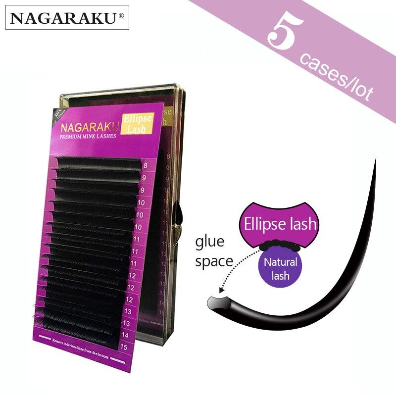 NAGARAKU 5 cas, Mélanger 8 ~ 15mm dans un cas, Ellipse Cils, Ellipse Vison Cils Extension