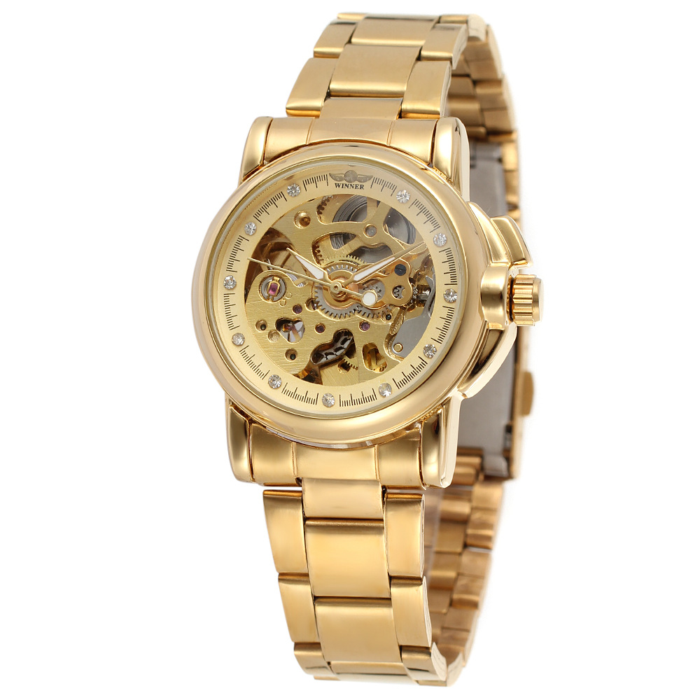 Luxury Gold Women Automatic Mechanical Watches Women Fashion Stainless Steel Clock Ladies Crystal Hollow Skeleton Watch Saati Women's Watches     - title=