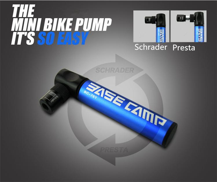 3  Bestgia Mini Portable Bike Tire pump Aluminum Alloy Bicycle Air Pump Super Light 45g Bike Pump 100 Psi Bike dual nozzle Inflator Small Accessory