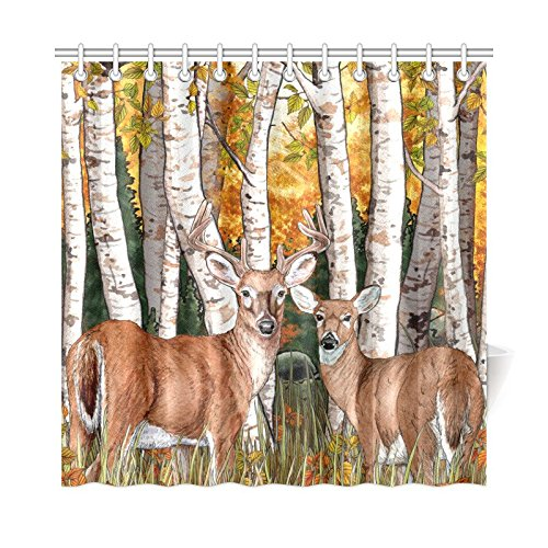 White Tail Deer and Birch Trees Polyester Fabric Bathroom Shower Curtain 72 x 72 Inches