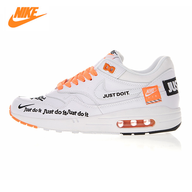 Nike Air Max 1 Just Do It Men's and Women's Running Shoes , White, Shock Absorbing Breathable Lightweight 917691 100