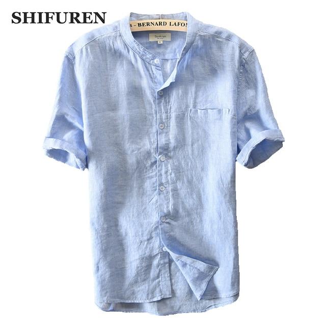 0ec3ad83 SHIFUREN New Summer Causal Men Shirts 100% Pure Linen Breathable Short  Sleeve Mandarin Collar Shirts