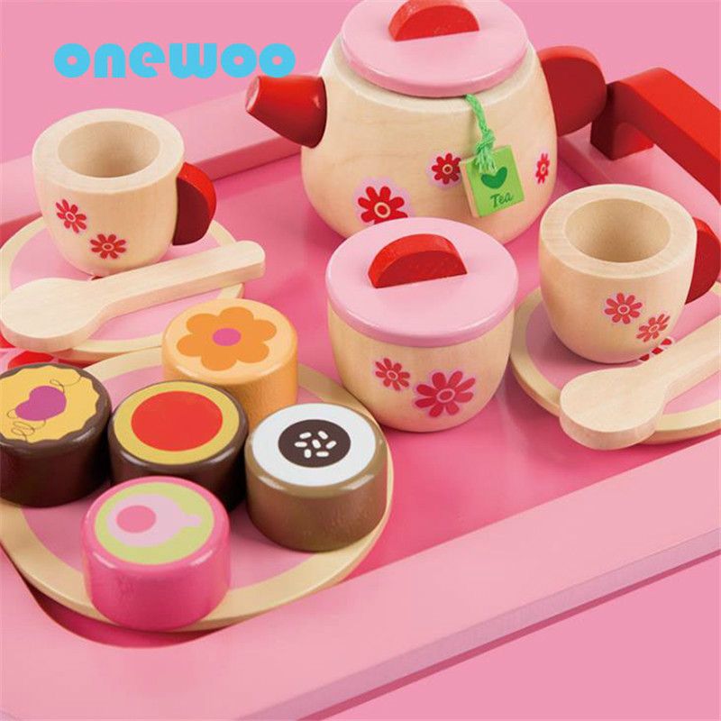 Kids simulation pretend wooden kitchen cake toy kids tea for Kitchen set cake
