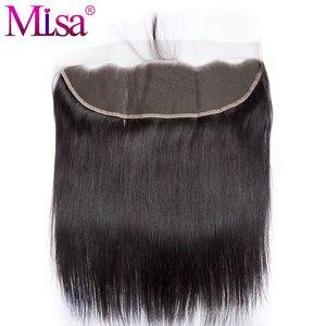 Image 4 - Mi ליזה 3 חבילות עם פרונטאלית מלזי ישר שיער Weave רמי שיער טבעי צרור ו 13x4 תחרה פרונטאלית סגירה עם חבילות