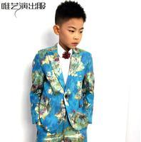 Детский фестиваль одежда мужские вышитые костюмы конструкции masculino homme этап певцов Детская куртка мужская блейзер кампус звезда синий