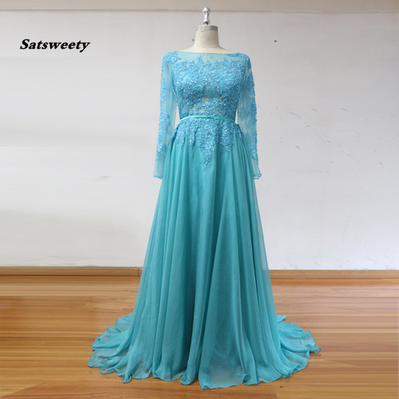 Real Image Long Sleeves   Prom     Dresses   Slash O Neck Appliques Beading Chiffon Floor Length Evening Party Gowns