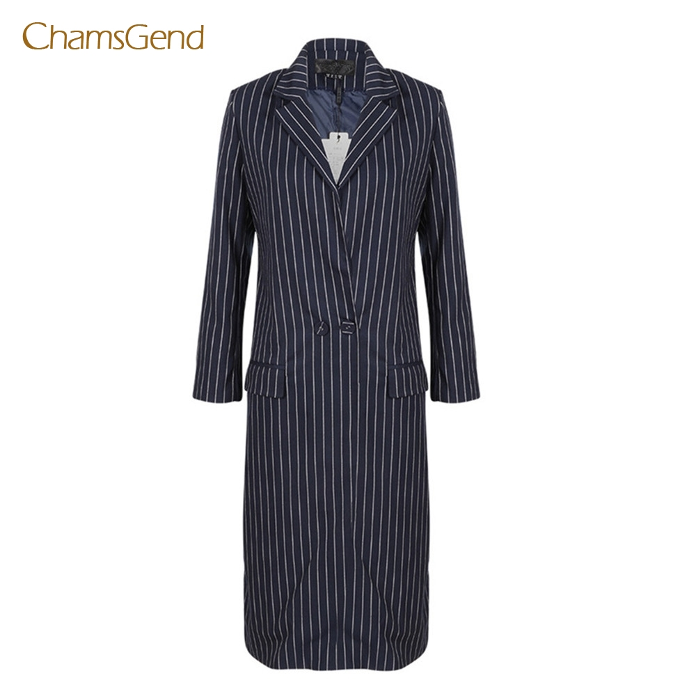 Chamsgend Women England Style Vertical Striped Formal Blazer Suit Winter Long Coat 17817