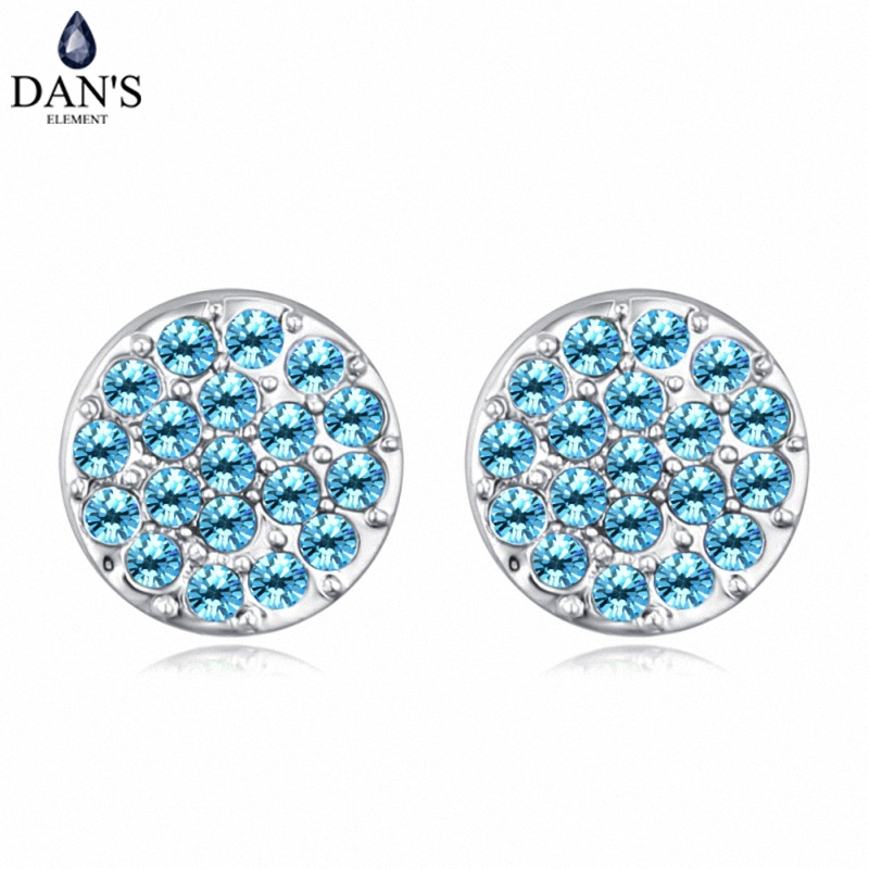 DANS 6 Colors Real Austrian crystals Stud earrings for women Earrings s New Sale Hot Round 128965