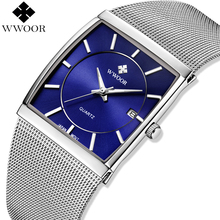 WWOOR メンズ腕時計ブランドの高級正方形防水日付クォーツ時計男性腕時計スチールメッシュビジネス男性の腕時計シルバーブルー