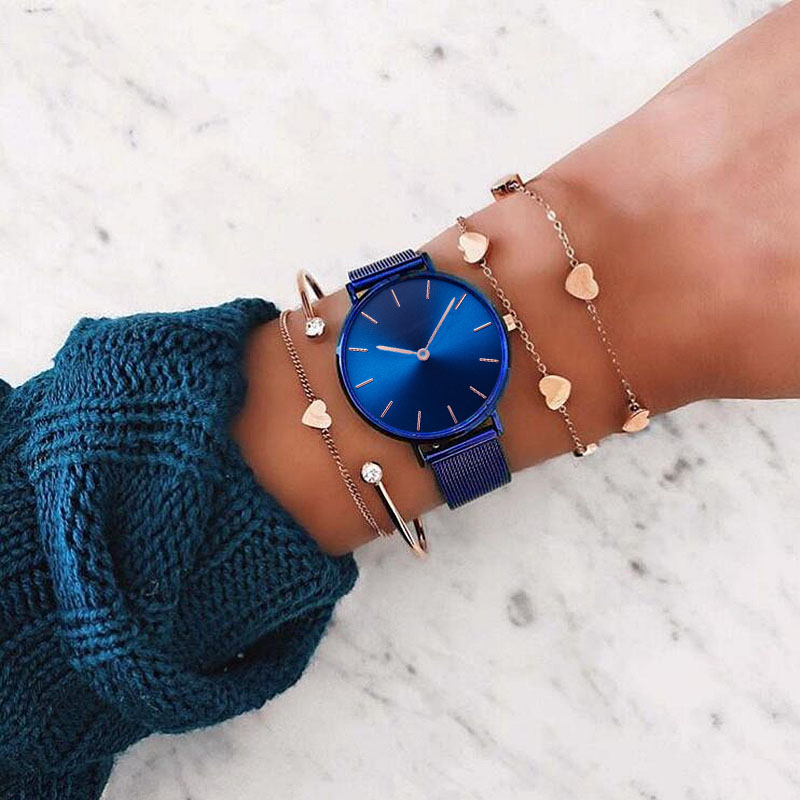 Mavis Hare Blue Mesh Watches Bracelet Set With Royalblue Swirl Marks Dial Wristwatch & Rose Gold Heart Crystal Bracelet Bangle