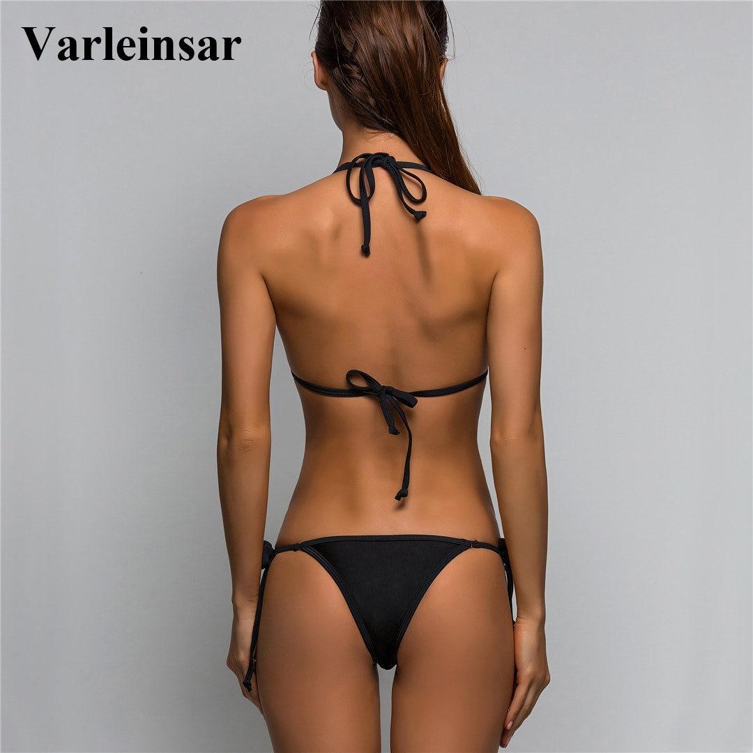 99e1e959df 2019 Sexy Micro Mini String Tie Two Piece Separate Bikini Top Bottom Swim  Brief Women Swimwear Female Brazilian Tanga Panty V02B-in Two-Piece  Separates from ...