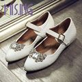 New arrivals women shoes fashion Rhinestone Printing Leather Mary Janes flats shoes Buckle Strap Pointed Toe Spring/Autumn shoes