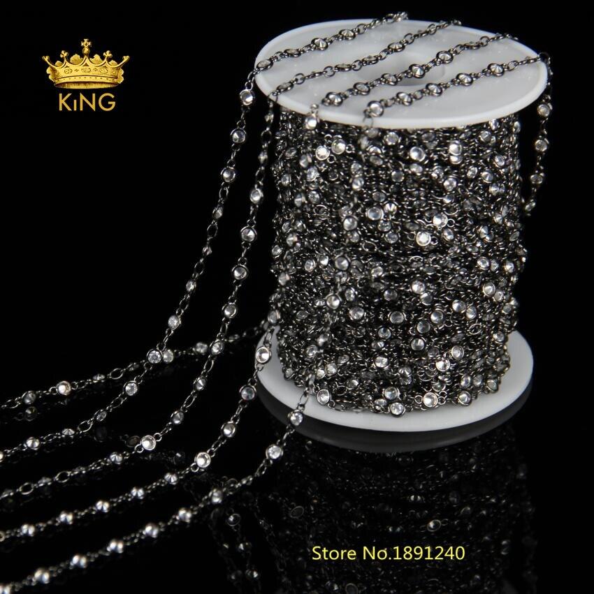 3mm, 4mm, 6mm facettes CZ perles mode chaînes bijoux en vrac, clair Zircon chapelet chaîne pistolet métal plaqué boucle faisant Bracelet HX086