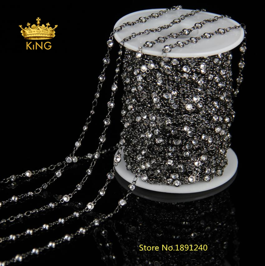 3mm,4mm,6mm Faceted CZ Beads Fashion Chains Jewelry Bulk,Clear Zircon Rosary Chain Gun Metal Plated Loop Making Bracelet HX0863mm,4mm,6mm Faceted CZ Beads Fashion Chains Jewelry Bulk,Clear Zircon Rosary Chain Gun Metal Plated Loop Making Bracelet HX086