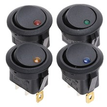 20Pcs 12V DC Waterproof Round Rocker Switch Dot Dash Car Van Boat LED Illuminated Light Toggle Switch ON/OFF Black Button