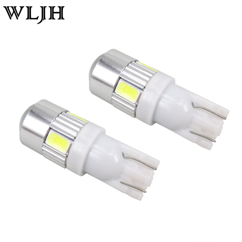 WLJH 2x Bright White T10 LED W5W High Power 6 5630 SMD 5630 168 194 2825 Bulbs Led Lamp Car Parking Light License Position Light 4pcs super bright t10 w5w 194 168 2825 6 smd 3030 white led canbus error free bulbs for car license plate lights white 12v