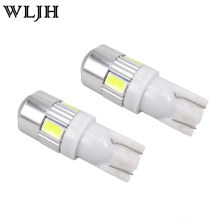 WLJH 2x Bright White T10 LED W5W High Power 6 5630 SMD 5630 168 194 2825 Bulbs Led Lamp Car Parking Light License Position Light