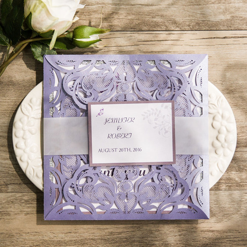 Lavender Laser Cut Wedding Invitations Card With Rsvp And