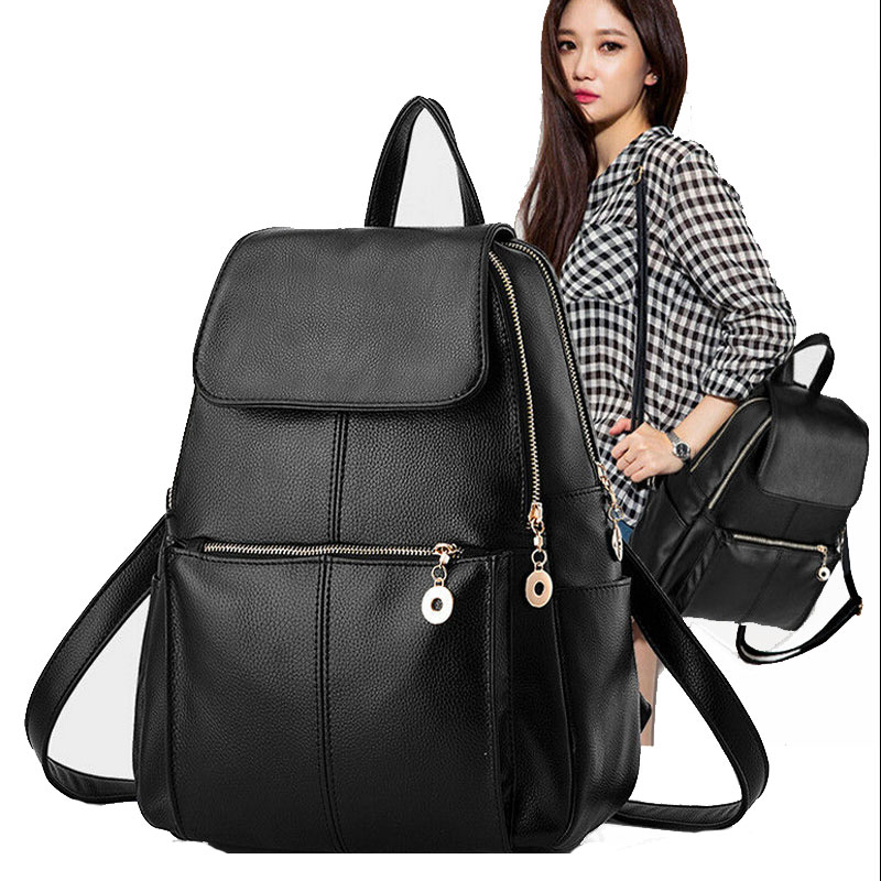 Women Fashion Backpacks PU Leather School Bag Girls Female Black Travel Shoulder Bags Waterproof Back Bags Soft Back