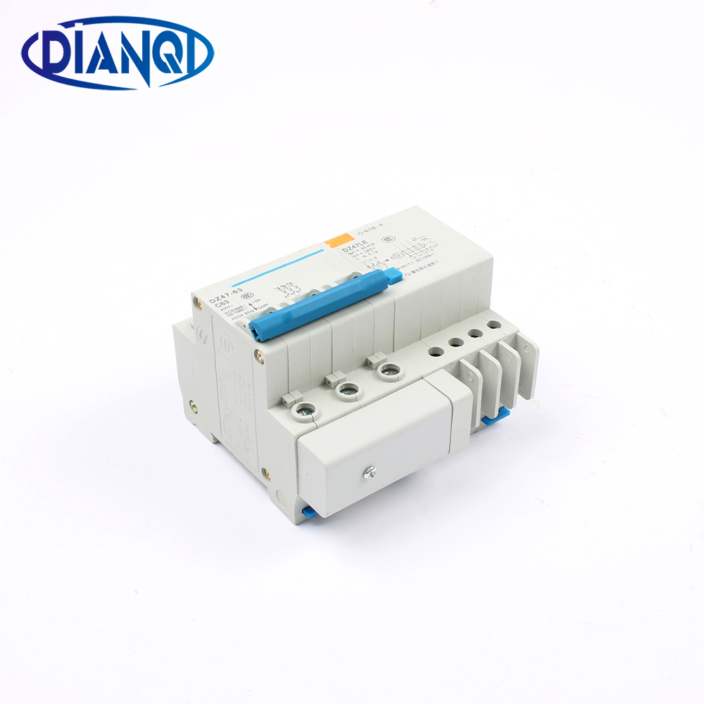 DZ47LE-63 3P 6A 10A 16A 20A 25A 400V 50/60HZ 32A 40A 63A Residual Current Circuit Breaker Over Current Leakage Protection RCBO chnt chint leakage protector nbe7le 3p n 16a 20a 25a 32a 40a 63a small circuit breaker air switch